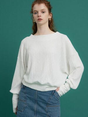 monts 1075 puff sleeve round shirt (white)