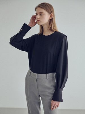 20SN pleats sleeve blouse [BK]