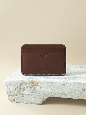 Italian Vegetable Pebble Card Wallet Dark Brown