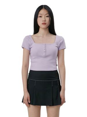 C MARBLE SNAP SQUARE NECK TOP_LIGHT VIOLET