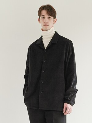 CORDUROY OPEN COLLAR SHIRT_BLACK