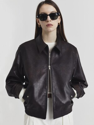 UNISEX ITALIAN LAMBSKIN LEATHER BLOUSON BURNISHED BROWN_UDJU1E103W2