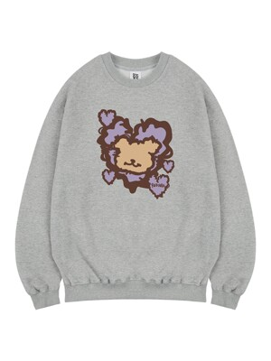 Fluffy Heart Bear sweat gray
