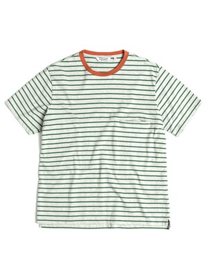 ONE POCKET BORDER T-SHIRT / GREY & GREEN