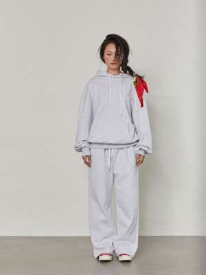 Stretch over-fit hoodie - LIGHT GREY