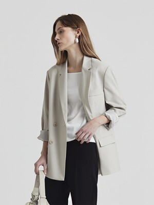 UNISEX RELAXED DOUBLE-BREASTED COOL-WOOL BLAZER LIGHT BEIGE_UDJA1E103I1