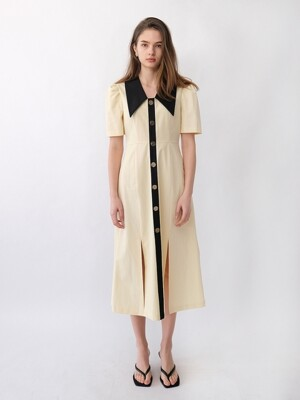 EDITH COLLAR SLIT DRESS_BUTTER