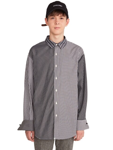 BLOCK STRIPE SHIRTS(CHARCOAL)