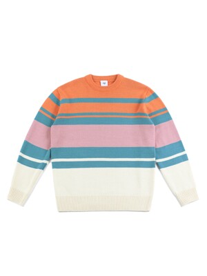 MULTI STRIPE KNIT (ORANGE-PINK)