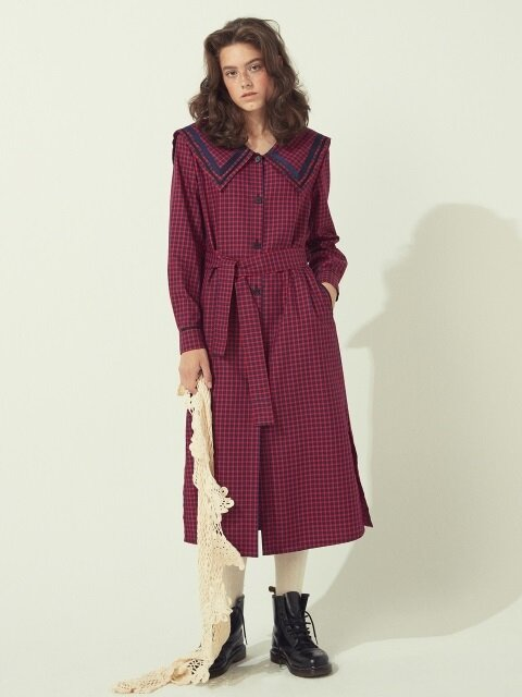 CHECK SHIRTS DRESS - RED/GREEN