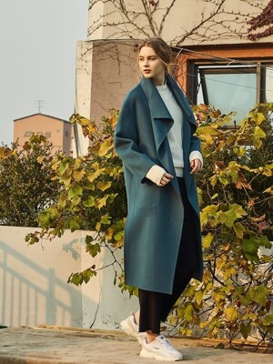 SLIT HANDMADE COAT BLUE