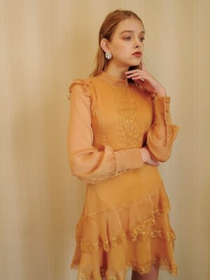 Lace frill dress (Yellow)