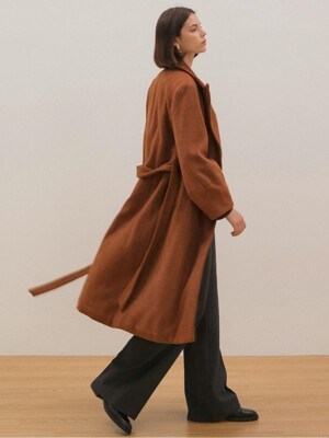 Belted Ballon Coat - Brown