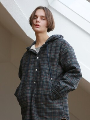 UNISEX CHECK DUMBLE HOOD JUMPER DARKGREEN