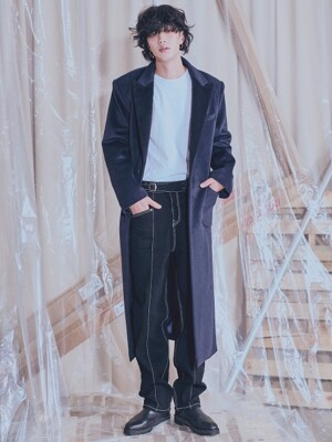 Cashmere-Single LONG COAT_Navy