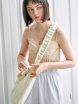Shirring shoulder hobo bag_ivory