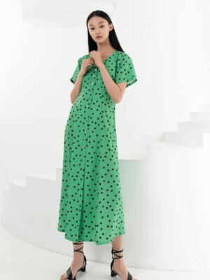 FRONT BUTTON LONG DRESS . YELLOW GREEN