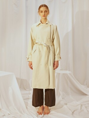 LEATHER TRENCH COAT [IVORY]