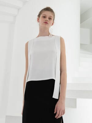 SHOULDER STRAP DETAILED SLEEVELESS TOP . WHITE