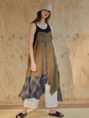 레이어드 19ss - Asymmetric slip dress - khaki