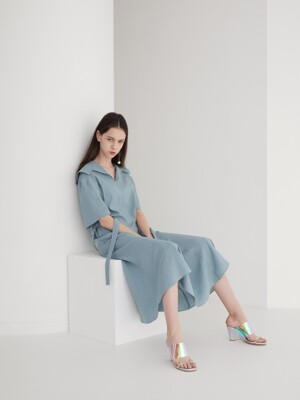 19' SUMMER_Vintage Mint Linen Sailor Dress