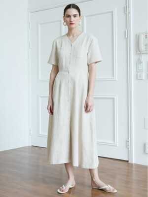Soft Twill Dress - Beige