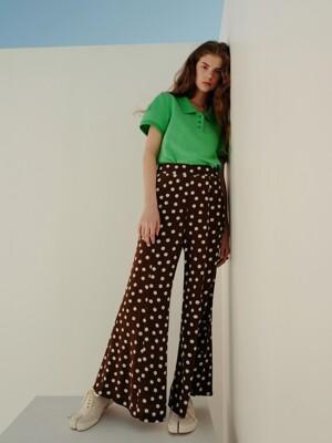 Flare pants_Brown dot