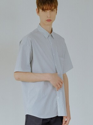 BASIC STRIPE HALF SHIRT(WHITE)