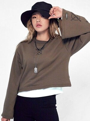Cropped crew-neck tee-khaki