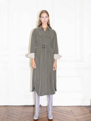 SEOUL oversized shirt dress_khaki