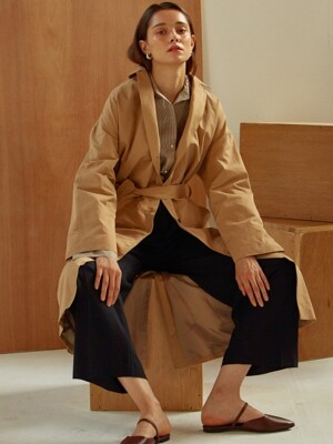 [By Joorti] J283 Simple line trench coat (beige)