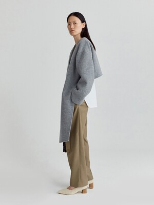 ASYMMETRIC WOOL ALPACA COAT (GREY)