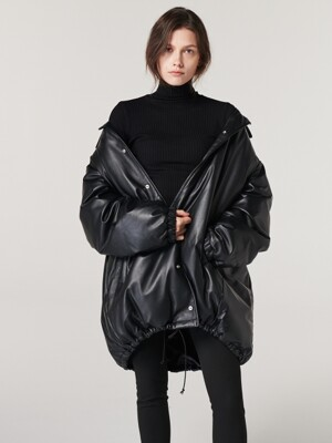 OVERSIZED LEATHER DOWN-FILLED JUMPER. BLACK