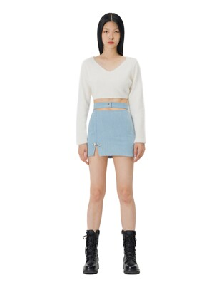 C WAIST CUT MINI SKIRT_SKY BLUE