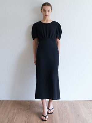 shirring  long dress-black