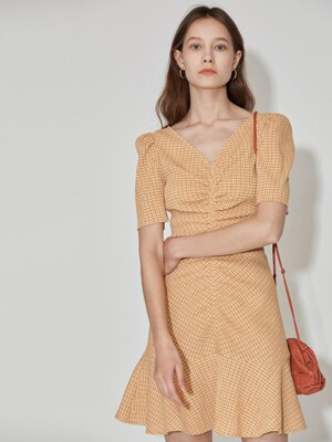 Stretch Seersucker Dress [Mustard Yellow] JSDR0B915Y3