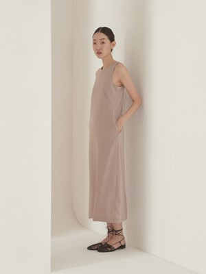 Halter neck maxi dress_beige