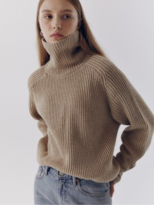 UNISEX RIBBED FUNNEL NECK WOOL SWEATER BEIGE_UDSW0F112I2