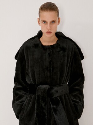 DETACHABLE COLLAR BELTED FAUX-FUR COAT (BLACK)