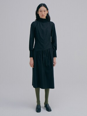 Zip-up Rib Dress_Black