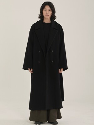 unisex double long coat black
