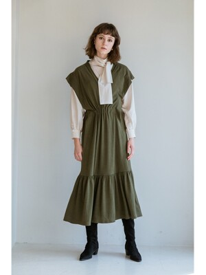 KNIT VEST DRESS KHAKI