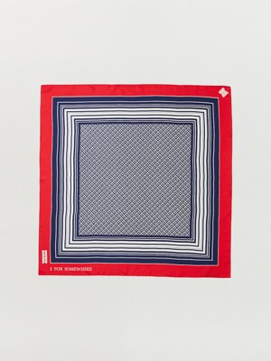 SUE Patterned Scarf - Red/Navy