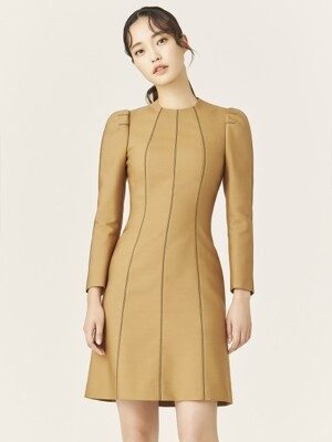 CAMEL WOOL SILK STITCH MINI DRESS