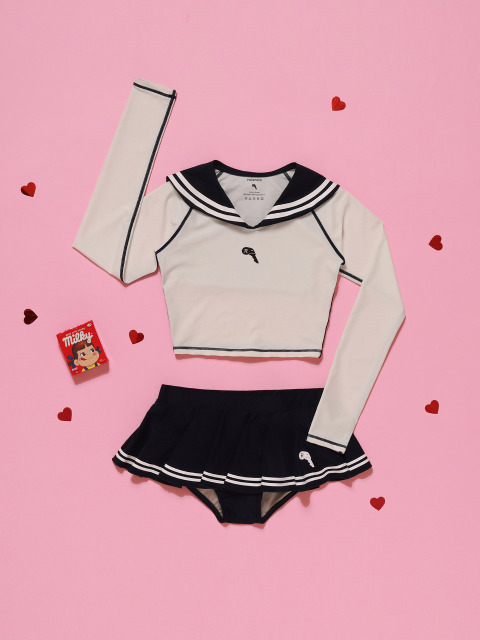 (SW-18383)SAILOR CROP RASHGUARD WHITE