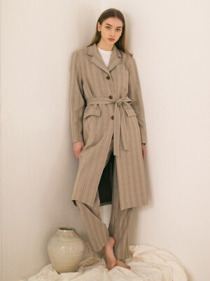 Checked Tailored Coat - Beige