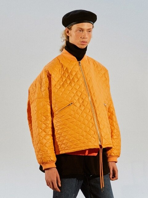 Oversize Crop Quilting jacket_ orange