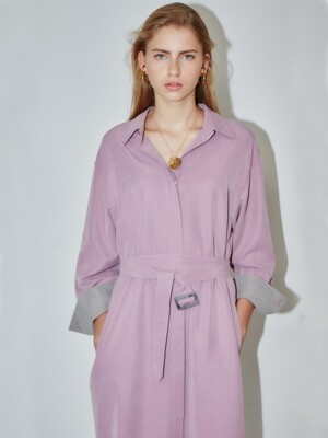 SEOUL over-sized drop shoulder shirt dress (Soft Lilac & Light gray)