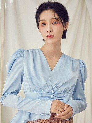 Puff sleeve shirring blouse [Blue]