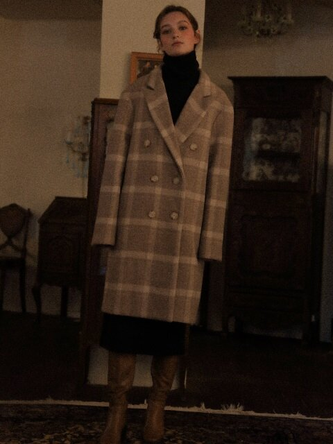 LV CHECK DOUBLE COAT(GRAY)